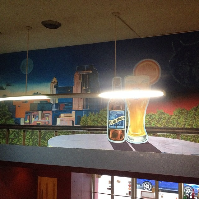 Hard to get a good shot of this but this one's at the Alley in Raleigh. Designed by @bluemoonbrewco.