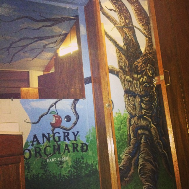 Quick one for @angryorchard at #goodfellows. #chapelhill #beermurals #samadams